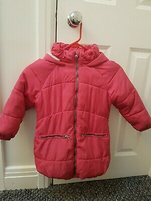NEXT girls warm keep dry padded hooded Coat/Jacket Pink 5 years