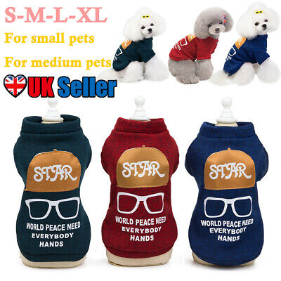 Winter Warm Pet Cat Dog Hoodie Jacket Soft Letter Printed Vest Puppy Clothing UK