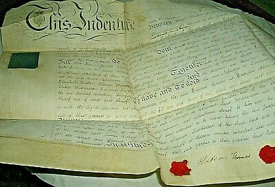 Antique Lease on Vellum 1810/Green of Wadworth to Gibbons/ 59 x 35 cm/3 seals