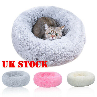 Pet Dog Cat Calming Bed Warm Soft Plush Round Cute Nest Deep Sleeping Cave Bed