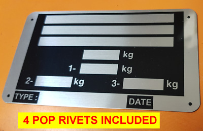 Trailer Blank VIN /& Weight Chassis Plate 120mm x 45mm Idenfication Number