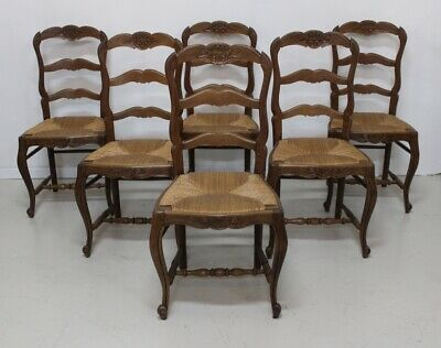 Set of 6 French provincial vintage oak ladder back country cottage dining chairs