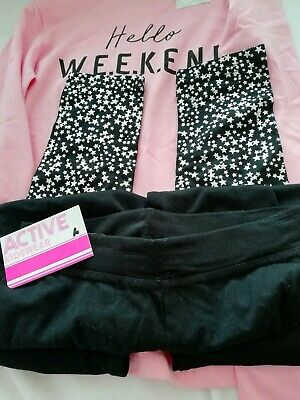 Age 8-9 L/S Pink Top & Black Trousers (top from Pep & Co, trousers from Primark)