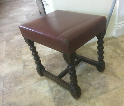 ANTIQUE LEATHER-TOPPED oak BOBBIN STOOL With Brass Studs