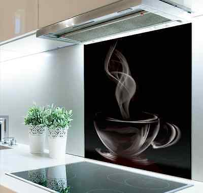 90cm W x 70cm H  Digital Print Glass Splashback TEA ,  Coffee  Cup  Black  544