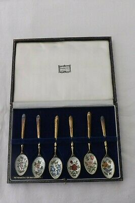 Set Of Six Solid Silver And Enamel Tea Spoons Flower Designs By Harrods London