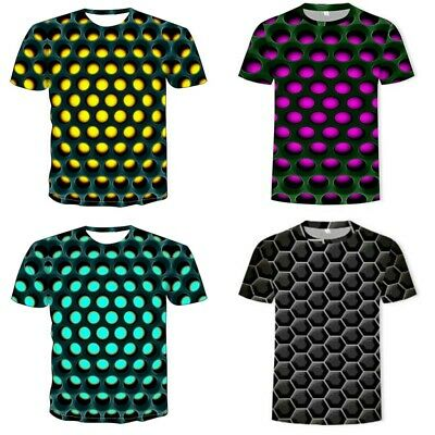 Men Women Tee Fashion Tops T-Shirt Short Sleeve Hypnosis Casual 3D Graphic Funny