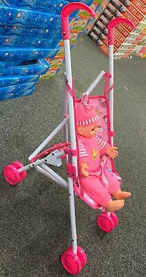 "Set Of Dolls Buggy Stroller Pram  with 14"" Crying Baby Doll Girls Toy"