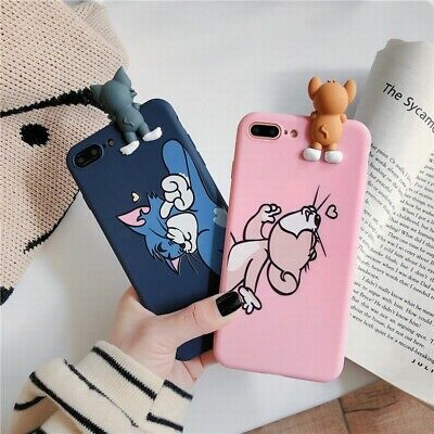 3D Cat Mouse Soft Silicone TPU Phone Case Cover For iPhone 6 7 8 11Pro XS Max XR