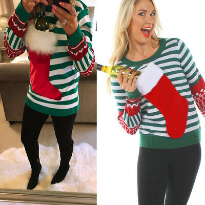 Ugly Sweater Women Christmas Sock Stripe Casual Knitted Pullover Xmas Top Blouse