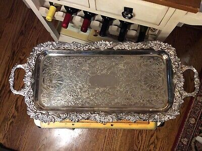 """Vintage Sheffield Silverplate 21.5"""" Serving/Cocktail Tray Usa"""