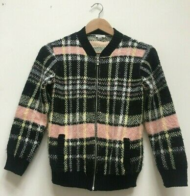 Girls River Island Autumn Black Checked Knitted Bomber Jacket Age 9-10 Years