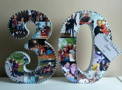 Personalised Photo Collage Number 18,21,30 50 Friend Birthday,Mothers Day ,Gift