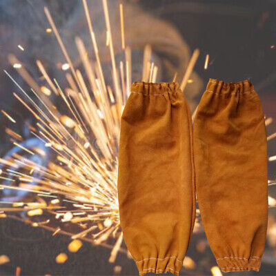 1 Pair Leather Protective Welding Sleeve Durable Heat Resistant Elastic Cuff