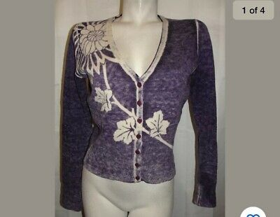 Lucky Brand Cardigan Sweater Purple V-neck Floral Lambs Wool Cardigan Size M