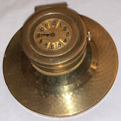 Antique 19th / 20th century gilt metal capstan inkwell with clock.