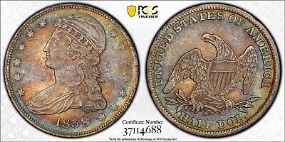 1838 Reeded Edge 50c XF40 PCGS Toned Rainbow Toner Type Capped Bust Half Dollar