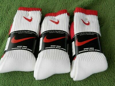 Vintage NOS Nike Swoosh Sport Crew Socks Lot Of 3 Pair Estate Find