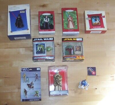STaR WaRS Hallmark and Kurt Adler Ornament Lot  - Vader Fett Solo Clone Yoda m&m