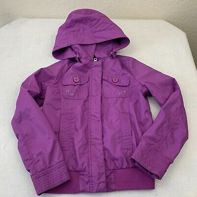 united colors of benetton Girls Size 7 8 Purple Jacket Removable Hood Zip Snap