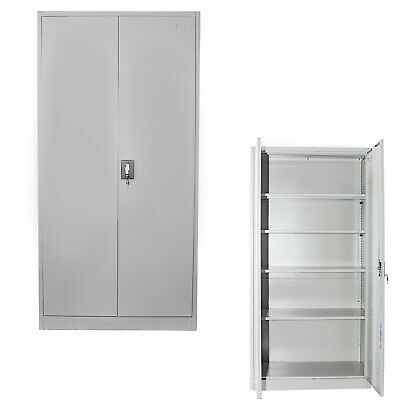 IGO Office Cabinet 90x40x180 cm Steel Grey Storage Cupboard Stationary File