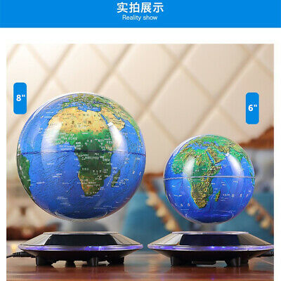"6""8"" Home Room Decor Floating World glow globe Map Magnetic Levitation LED Light"