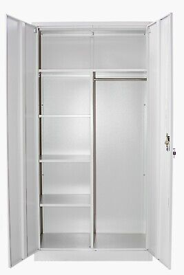 IGO Locker Cabinet with 2 Doors Steel 90x40x180cm Grey Office Sideboard