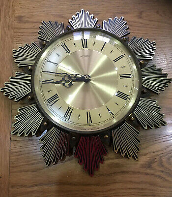 Vintage English Mid-Century Funky Metamec Battery Powered Wall Clock. 1960s/70s