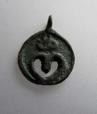 RARE Viking Era Bronze Decorated Lunar/Moon Crescent Pendant*