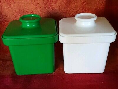 Vintage Retro DECOR brand Margarine Square Containers Green and White pair