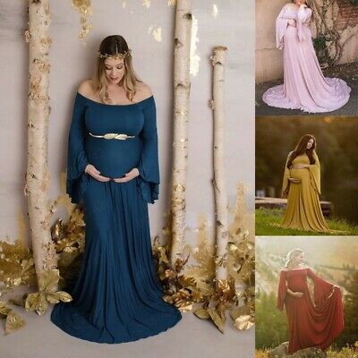 Women Pregnant Sexy Photography Props Off Shoulders Maternity Nursing Long Dress