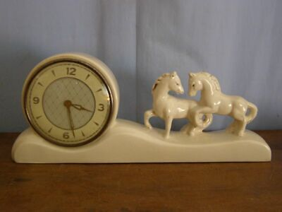 Old earthenware clock, winding mechanism, without ringing