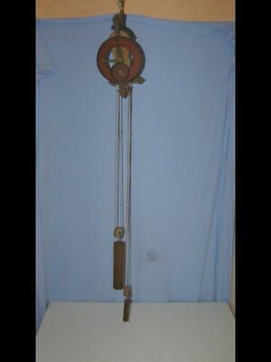 """Old wooden wall clock """"Baumann"""" with 2 dials and 2 weights, very rare"""