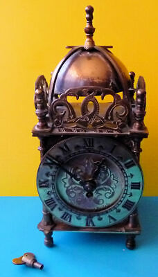 Vintage Smiths Brass  8 Day Mechanical Lantern Clock With Key -  See 7 Pics