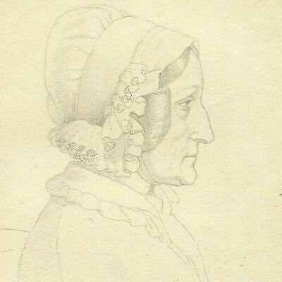 19th century Old Vintage Pencil Drawing - Old Drawing - Woman, Portrait, Hat
