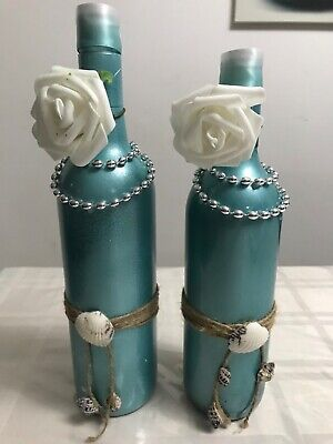 Wine bottle hand painted decorated teal green