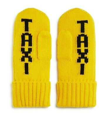 Kate Spade New York Big Apple TAXI Mittens Gloves Yellow knit One Size NWT
