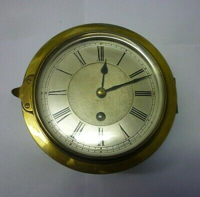 Rare Antique Heavy Brass Chain Fusee Ships Bulkhead Clock Signed S D Neil FWO