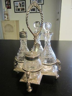 Antique Rogers&Smith Co. Quadruple Siver Plate Cruet Set Crystal Glass 1900-1940