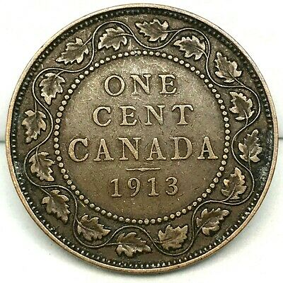Canada-1913  - Large Cent - George V - Bronze Coin #3  KM#21