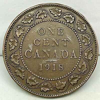 Canada-1918  - Large Cent - George V - Bronze Coin #3  KM#21