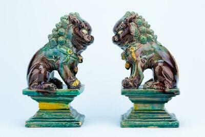 1900 Fu Foo Dogs Chinese Lion Sculpture Green Glaze Pottery Antique Bookends