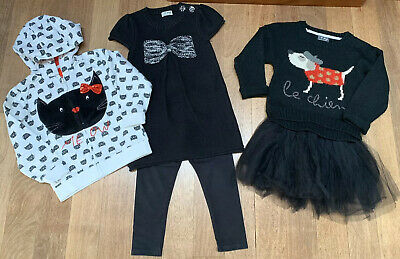 Next Girls Black Tunic/Leggings & Black Net Tutu Skirt/Dog Jumper. 3-4 Years.