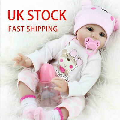 """22"""" Reborn Baby Dolls Real Life Like Looking Newborn Baby Girl Doll + Clothes Uk"""