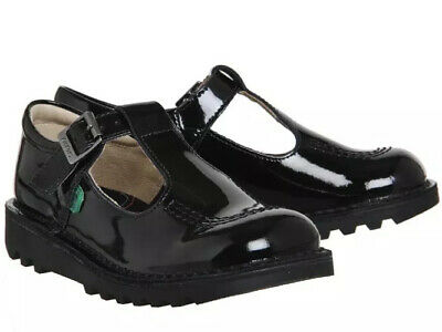 New Kickers Junior Kick T Girls Patent Black Leather Mary Jane School Shoes UK 1