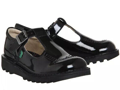 Kickers Junior Kick T Girls Patent Black Leather Mary Jane School Shoes UK 12