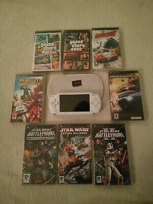 Sony Playstation Portable PSP Ceramic White Console (PSP-1000) 2GB + 8 Games