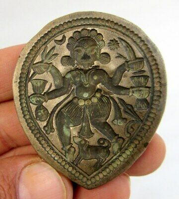 Ancient Bronze Mold Hindu Goddess Durga With Weapon Jewelry Die Seal Antique Old