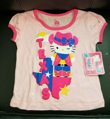 Hello Kitty Pink Toddler Girls Texas Cowgirl Short Sleeve Tee T-shirt- 3T - NWT
