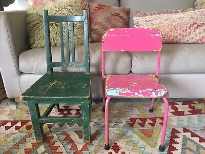 Vintage Kids Chairs Set of 2 Wooden and Metal